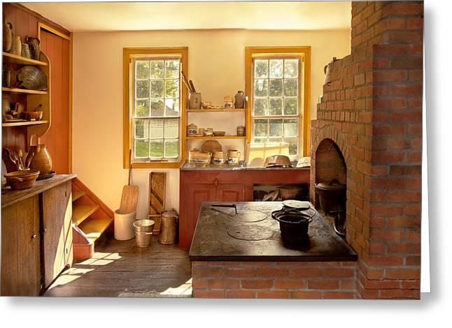 Kitchen - An 1840's Kitchen Greeting Card by Mike Savad
