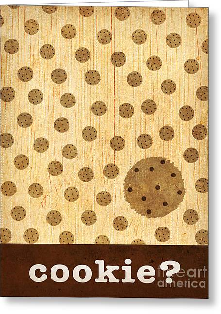 Kitchen Art - Cookie Greeting Card by Linda Tieu