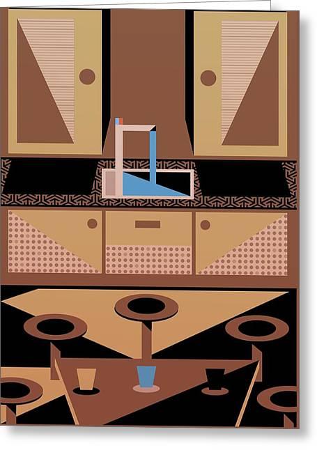 Geometric Digital Art Greeting Cards - Kitchen Greeting Card by Benjamin Gottwald