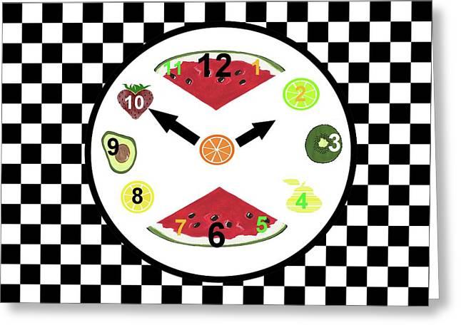 Kitchen Food Clock Greeting Card by Kathleen Sartoris