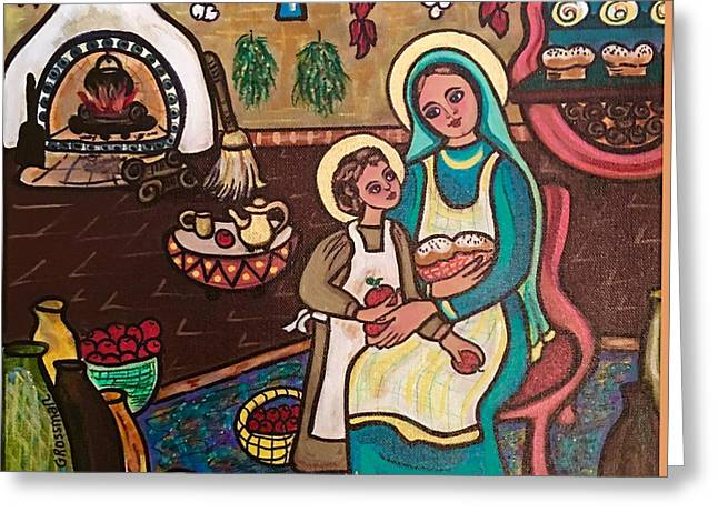 Child Jesus Greeting Cards - Kitchen Madonna Greeting Card by Susie Grossman