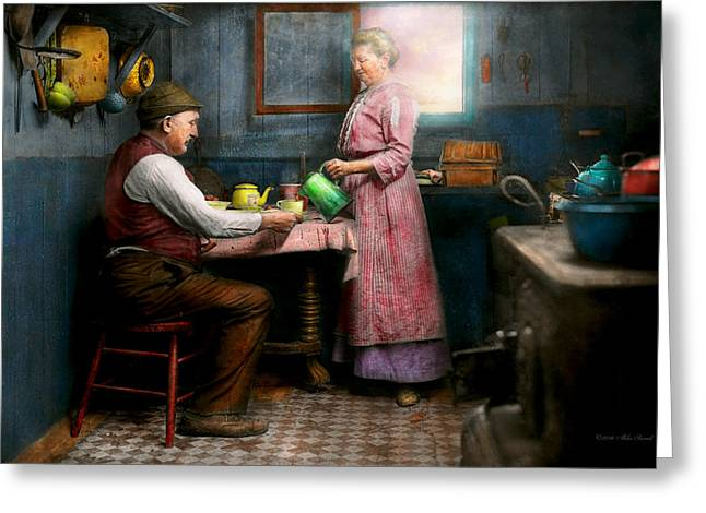 Kitchen - Morning Coffee 1915 Greeting Card by Mike Savad
