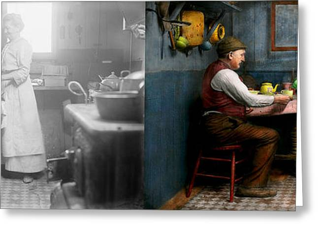 Kitchen - Morning Coffee 1915 - Side By Side Greeting Card by Mike Savad
