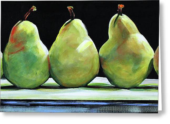 Pear Prints Greeting Cards - Kitchen Pears Greeting Card by Toni Grote