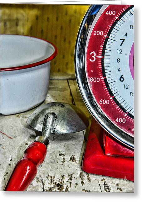 Menu Greeting Cards - Kitchen - Red Food Scale Greeting Card by Paul Ward