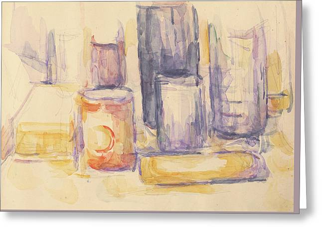 Kitchen Table  Pots And Bottles Greeting Card by Paul Cezanne