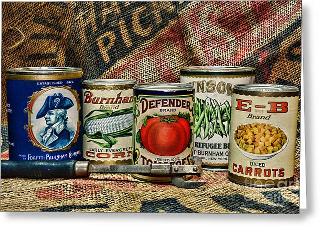 Kitchen - Vintage Food Cans Greeting Card by Paul Ward