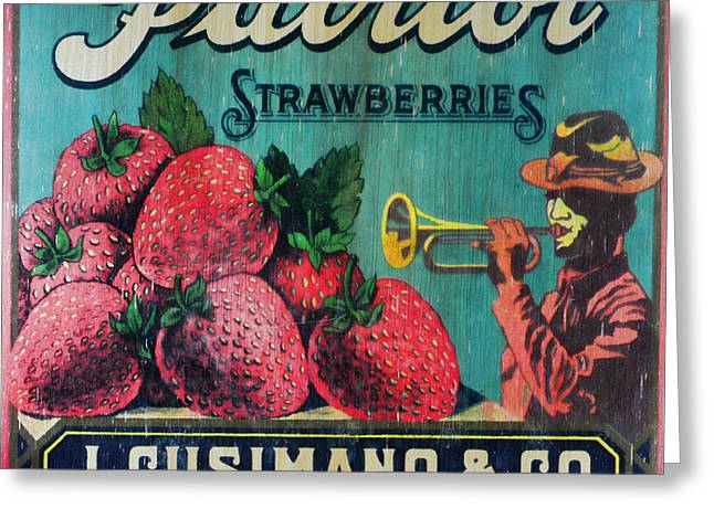 Strawberry Art Greeting Cards - Kitchen - Vintage Strawberry Sign Greeting Card by Paul Ward