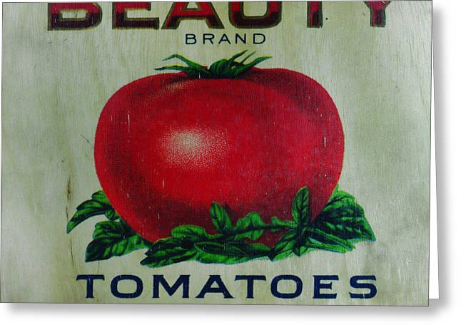 Harvest Art Greeting Cards - Kitchen - Vintage Tomato Sign Greeting Card by Paul Ward