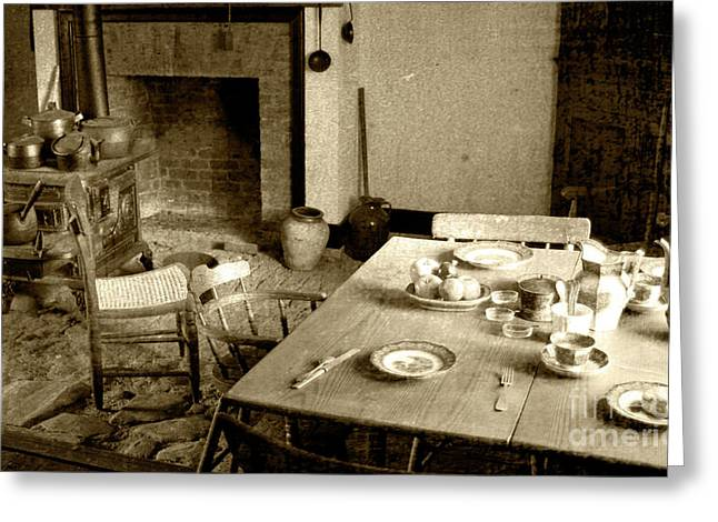 Antique Wood Stove Greeting Cards - Kitchen Work Area Greeting Card by Pete Hellmann