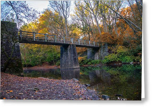 Kitchens Land Bridge Over The Wissahickon In Autumn Greeting Card by Bill Cannon