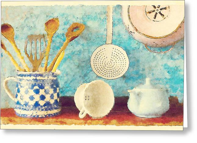 Stoneware Digital Art Greeting Cards - Kitchenware Greeting Card by Bekare Creative