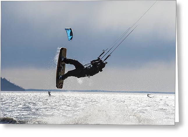 Kite Boarding Greeting Cards - Kite Boarders On Turnagain Arm Greeting Card by Daryl Pederson