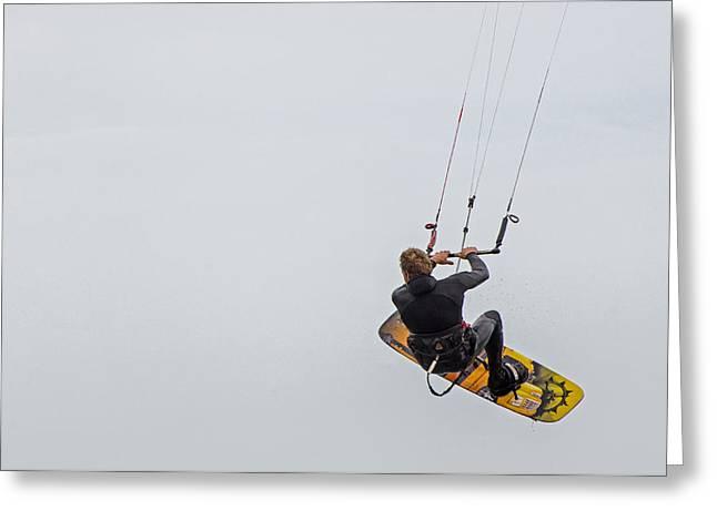 Kite Surfing Greeting Cards - Kite Boarding 1 Greeting Card by Susan  McMenamin