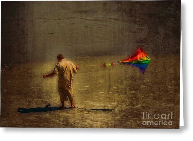 Kite Flying As Therapy Greeting Card by Jeff Breiman