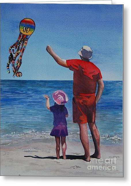 Kite Greeting Cards - Kite flying Greeting Card by Isabel Farrell