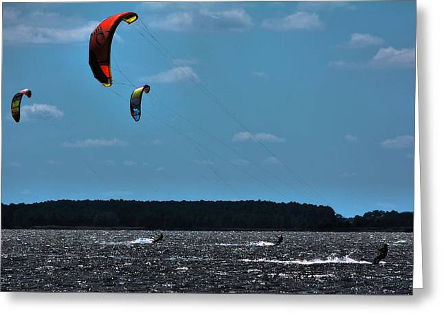 Kiteboarding Greeting Cards - Kite-Party of 3 Greeting Card by Robert McCubbin