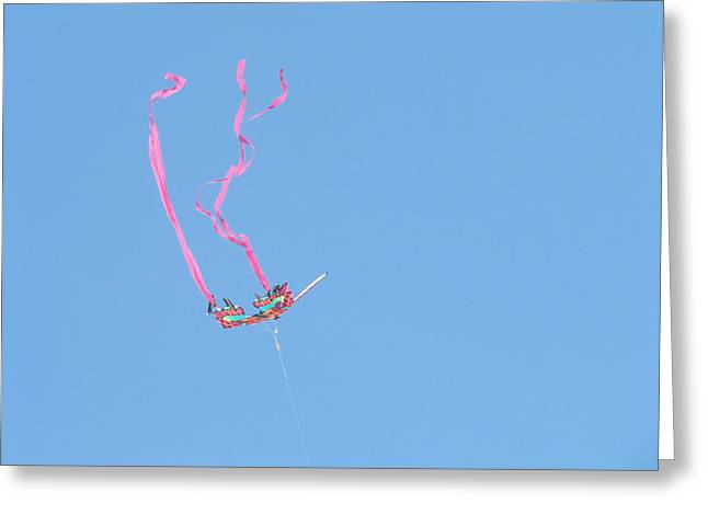 Kite Greeting Cards - Kite--Pretty in Pink Greeting Card by Nancy  Hopkins