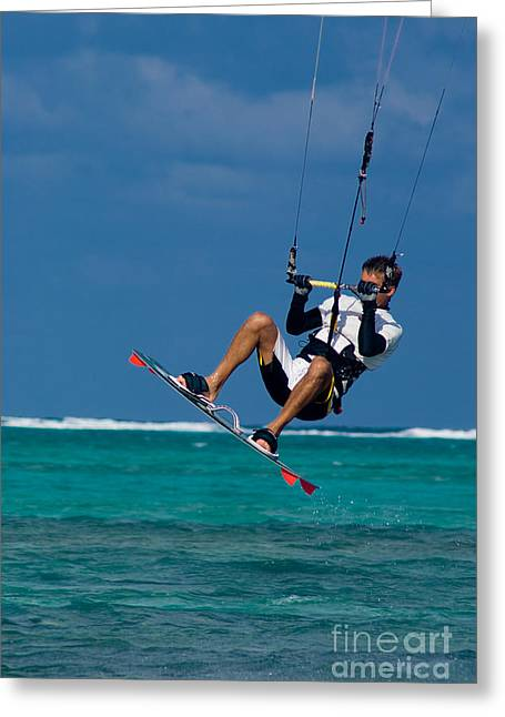 Kite Greeting Cards - Kite Surfer Greeting Card by Anthony Totah