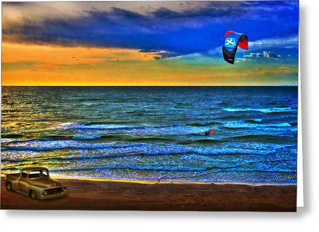 Kite Greeting Cards - Kite Surfer Early Morning Ride Greeting Card by Chas Sinklier