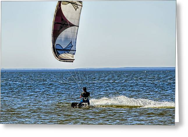 Kite Surfing Greeting Cards - Kite  surfer Greeting Card by Geraldine Scull