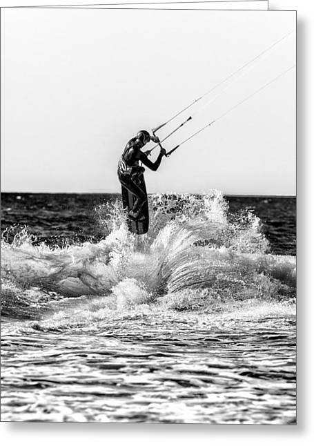Kite Surfing Greeting Cards - Kite Surfer in monochrome  #2 Greeting Card by Russ Dixon