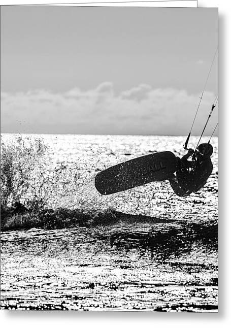 Kite Surfing Greeting Cards - Kite Surfer in monochrome #4 Greeting Card by Russ Dixon