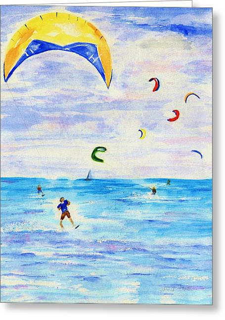 Kite Surfing Greeting Cards - Kite Surfer Greeting Card by Jamie Frier
