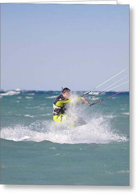 Kite Surfing Greeting Cards - Kite Surfer Greeting Card by NVeal Photography