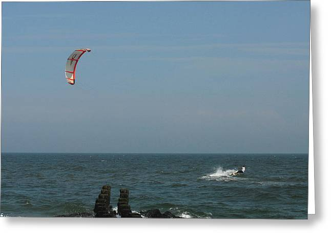 Wind Surfing Print Greeting Cards - Kite Surfing 1 Greeting Card by Joyce StJames