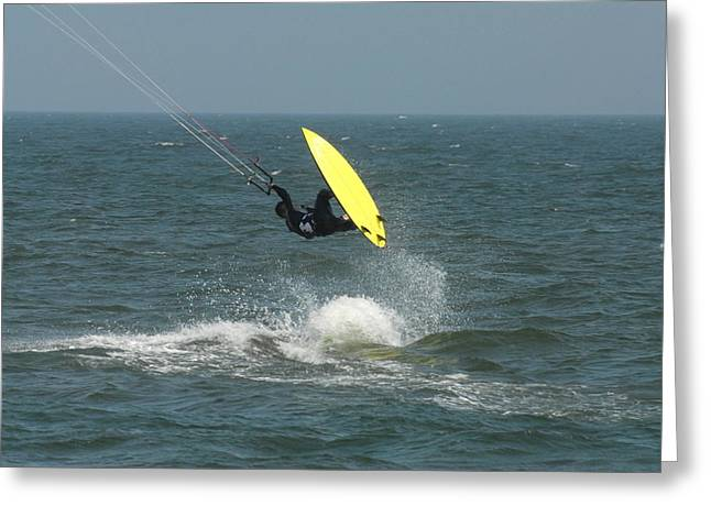 Wind Surfing Print Greeting Cards - Kite Surfing 10 Greeting Card by Joyce StJames