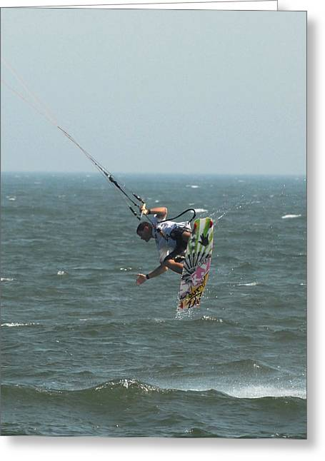 Wind Surfing Print Greeting Cards - Kite Surfing 13 Greeting Card by Joyce StJames