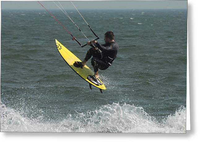 Wind Surfing Print Greeting Cards - Kite Surfing 2 Greeting Card by Joyce StJames