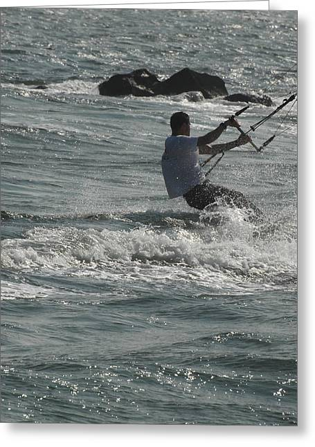 Wind Surfing Print Greeting Cards - Kite Surfing 23 Greeting Card by Joyce StJames
