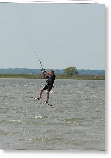 Wind Surfing Print Greeting Cards - Kite Surfing 24 Greeting Card by Joyce StJames