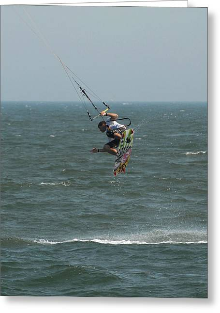 Wind Surfing Print Greeting Cards - Kite Surfing 26 Greeting Card by Joyce StJames