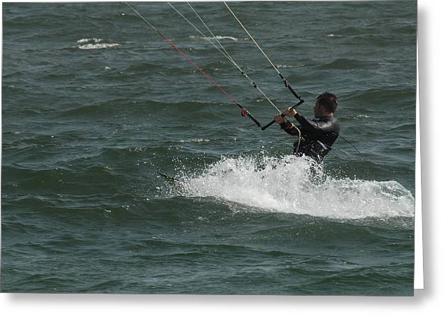 On The Beach Greeting Cards - Kite Surfing 28 Greeting Card by Joyce StJames