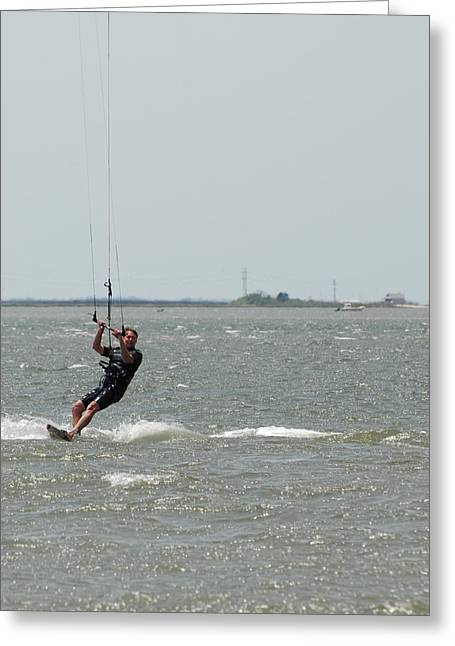 Wind Surfing Print Greeting Cards - Kite Surfing 29 Greeting Card by Joyce StJames