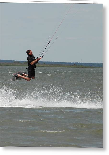 Wind Surfing Print Greeting Cards - Kite Surfing 31 Greeting Card by Joyce StJames