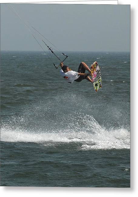 Wind Surfing Print Greeting Cards - Kite Surfing 4  Greeting Card by Joyce StJames