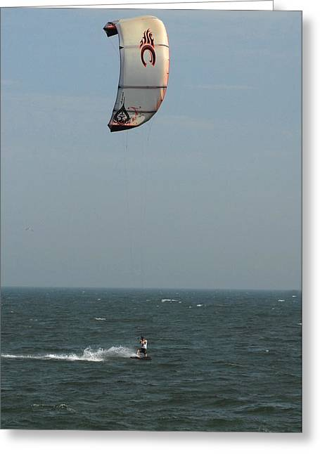 Wind Surfing Print Greeting Cards - Kite Surfing 5 Greeting Card by Joyce StJames