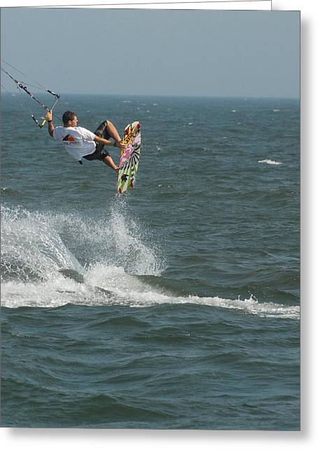 Wind Surfing Print Greeting Cards - Kite Surfing 8 Greeting Card by Joyce StJames