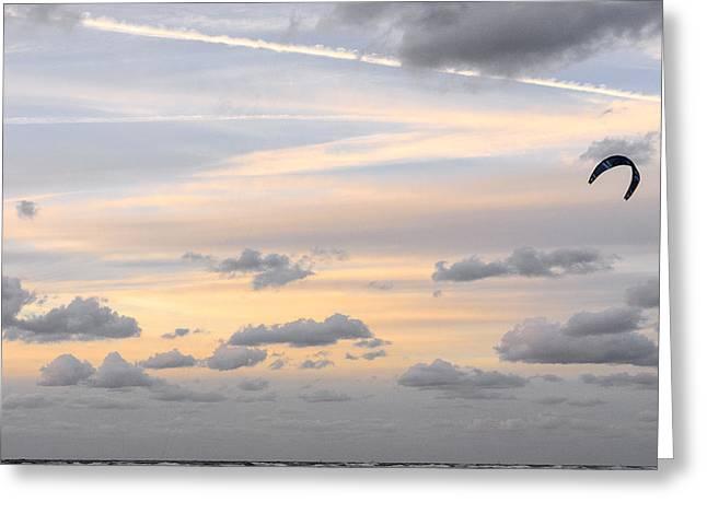Kite Surfing Greeting Cards - Kite surfing on Dutch coast #1 Greeting Card by Mariusz Sprawnik