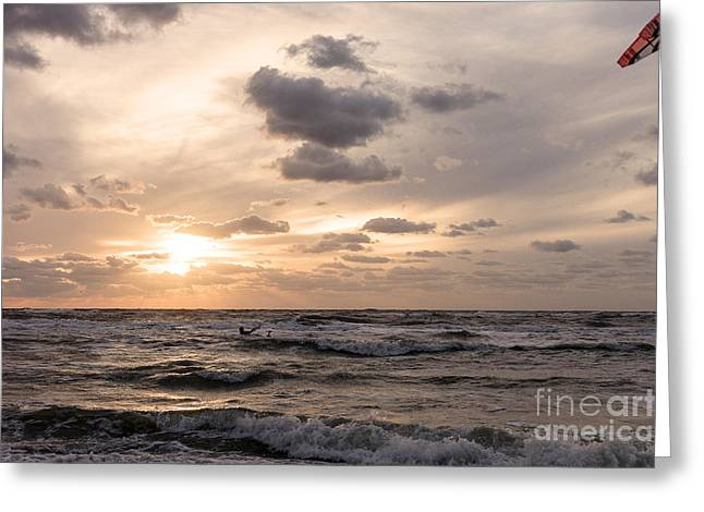 Kite Surfing Greeting Cards - Kite surfing on Dutch coast #2 Greeting Card by Mariusz Sprawnik