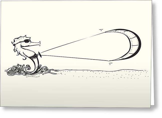 Sea Horse Greeting Cards - Kite surfing Sea Horse Shape Lines Greeting Card by Marco Felix