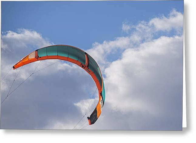 Kiteboard Sail In The Clouds On Pompano Beach Florida Greeting Card by Toby McGuire
