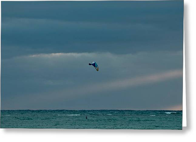 Kite Boarding Greeting Cards - Kiteboarding at Dawn Greeting Card by E Faithe Lester