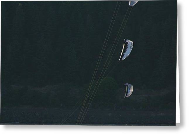 Kiteboarding On The Columbia River Greeting Card by Skip Brown