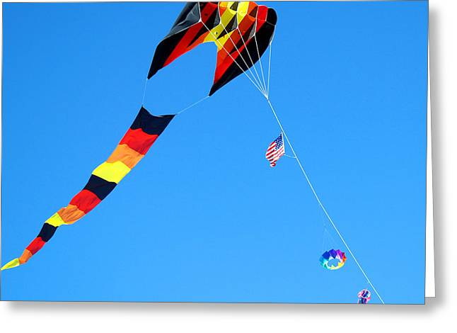 Kite Greeting Cards - KiteFlying1 Greeting Card by Robert Trauth