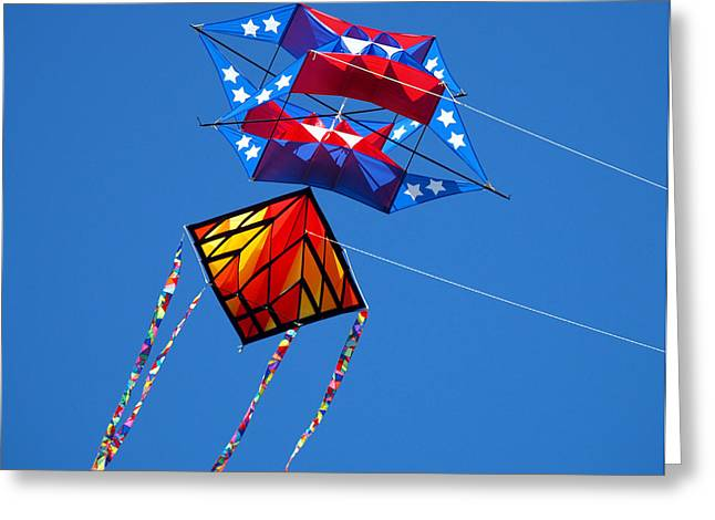 Kite Greeting Cards - KiteFlying2 Greeting Card by Robert Trauth